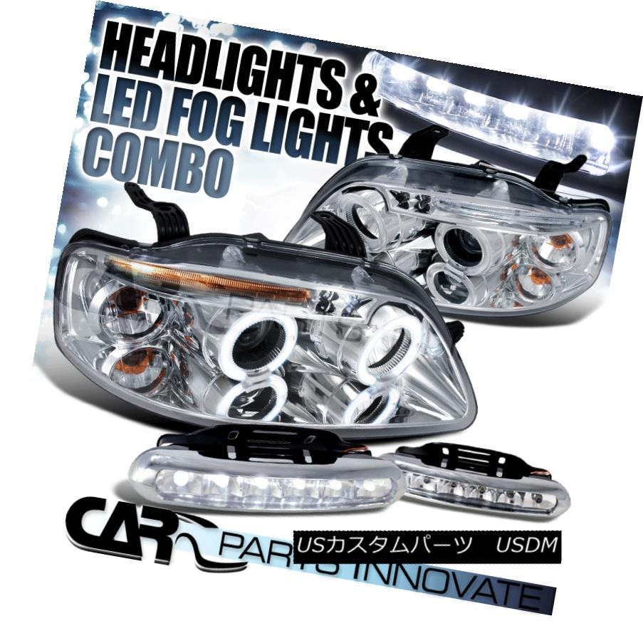 ヘッドライト 04-08 Chevy Aveo 4/5Dr Chrome LED Halo Projector Headlights+LED Fog Bumper DRL 04-08 Chevy Aveo 4 / 5Dr Chrome LEDハロープロジェクターヘッドライト+ LEDフォグバンパーDRL