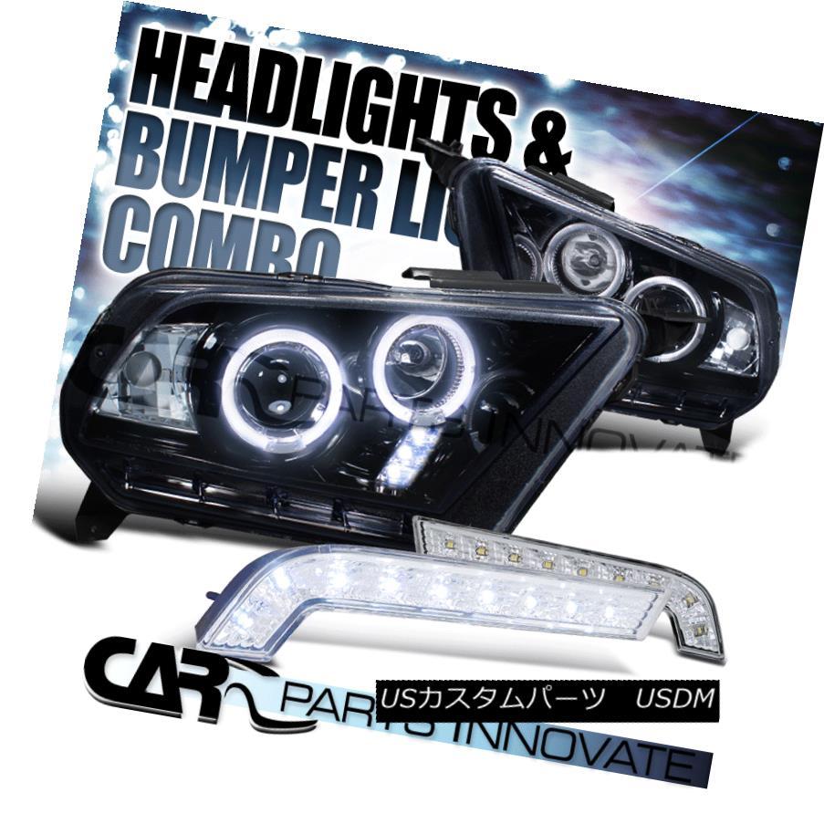 ヘッドライト Glossy Black 10-14 Mustang GT Halo Projector Headlights+SMD DRL Bumper Lamps Glossy Black 10-14 Mustang GTハロープロジェクターヘッドライト+ SMD DRLバンパーランプ