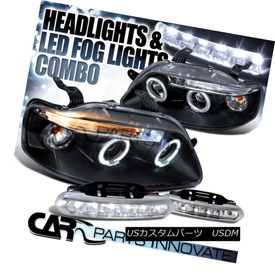 ヘッドライト 04-08 Chevy Aveo 4/5Dr Black LED Halo Projector Headlights+LED Fog Bumper DRL 04-08 Chevy Aveo 4 / 5DrブラックLEDハロープロジェクターヘッドライト+ LEDフォグバンパーDRL
