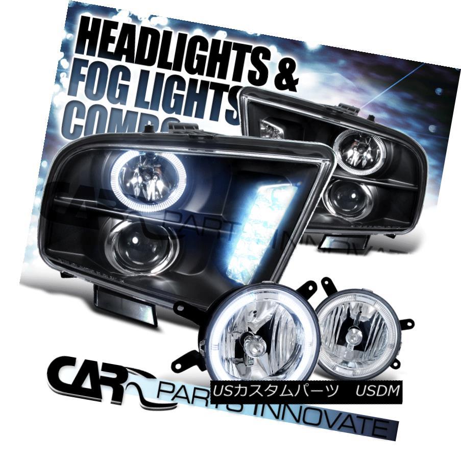 ヘッドライト 05-09 Ford Mustang GT Black LED DRL Projector Headlights+Clear Halo Fog Lamps 05-09 Ford Mustang GTブラックLED DRLプロジェクターヘッドライト+ Cle  ar Halo Fogランプ