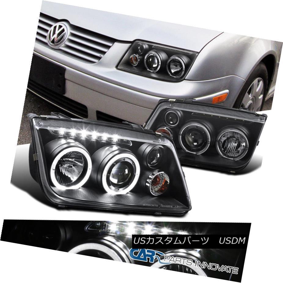 Fit 99-05 Jetta Bora Mk4 LED Halo Clear Projector Headlights Head Lamps w// Fog