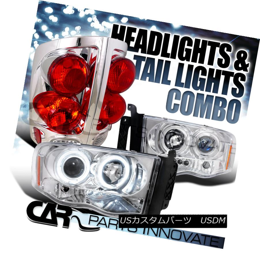 ヘッドライト 02-05 Dodge Ram 1500 Chrome Halo LED DRL Projector Headlights+3D Red Tail Lamps 02-05 Dodge Ram 1500 Chrome Halo LED DRLプロジェクターヘッドライト+ 3Dレッドテールランプ