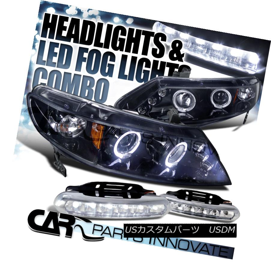ヘッドライト Glossy Black For 06-11 Civic 4Dr Smoke Halo LED Projector Headlight+LED Fog Lamp 光沢ブラック06-11シビック4DrスモークハローLEDプロジェクターヘッドライト+ LEDフォグランプ