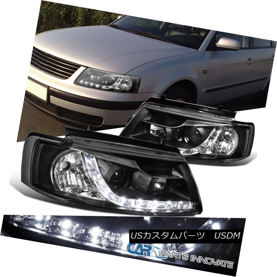 ヘッドライト For VW 97-00 Passat B5 Black Projector Headlight Head Lights Driving Lamps Pair VW 97-00用Passat B5ブラックプロジェクターヘッドライトヘッドライトドライビングランプペア