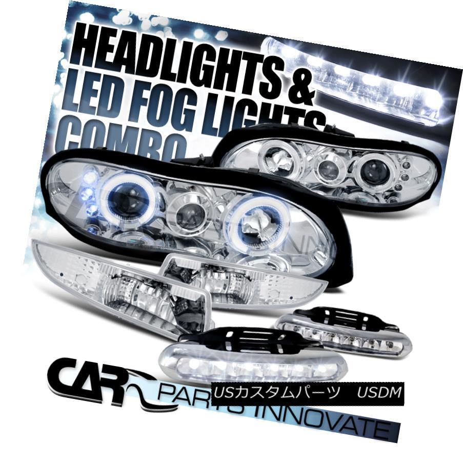ヘッドライト 98-02 Camaro Chrome Halo Projector Headlights+Bumper Lamps+6-LED Fog Lamps 98-02カマロ・クローム・ハロー・プロジェクター・ヘッドライト+ブラム 、ランプ+ 6-LEDフォグ・ランプ