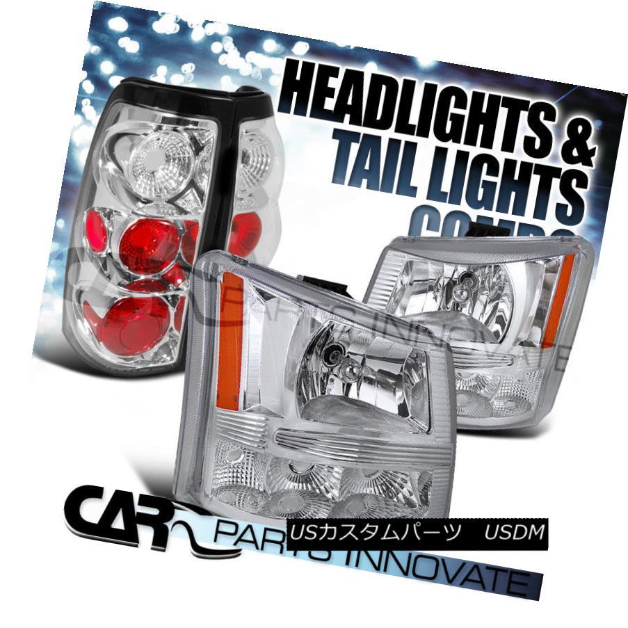 ヘッドライト 2003-2006 Chevy Silverado 2in1 Chrome Clear Head Bumper Lights+Tail Lamp 2003-2006シボレーシルバラード2in1クロームクリアヘッドバンパーライト+テールランプ