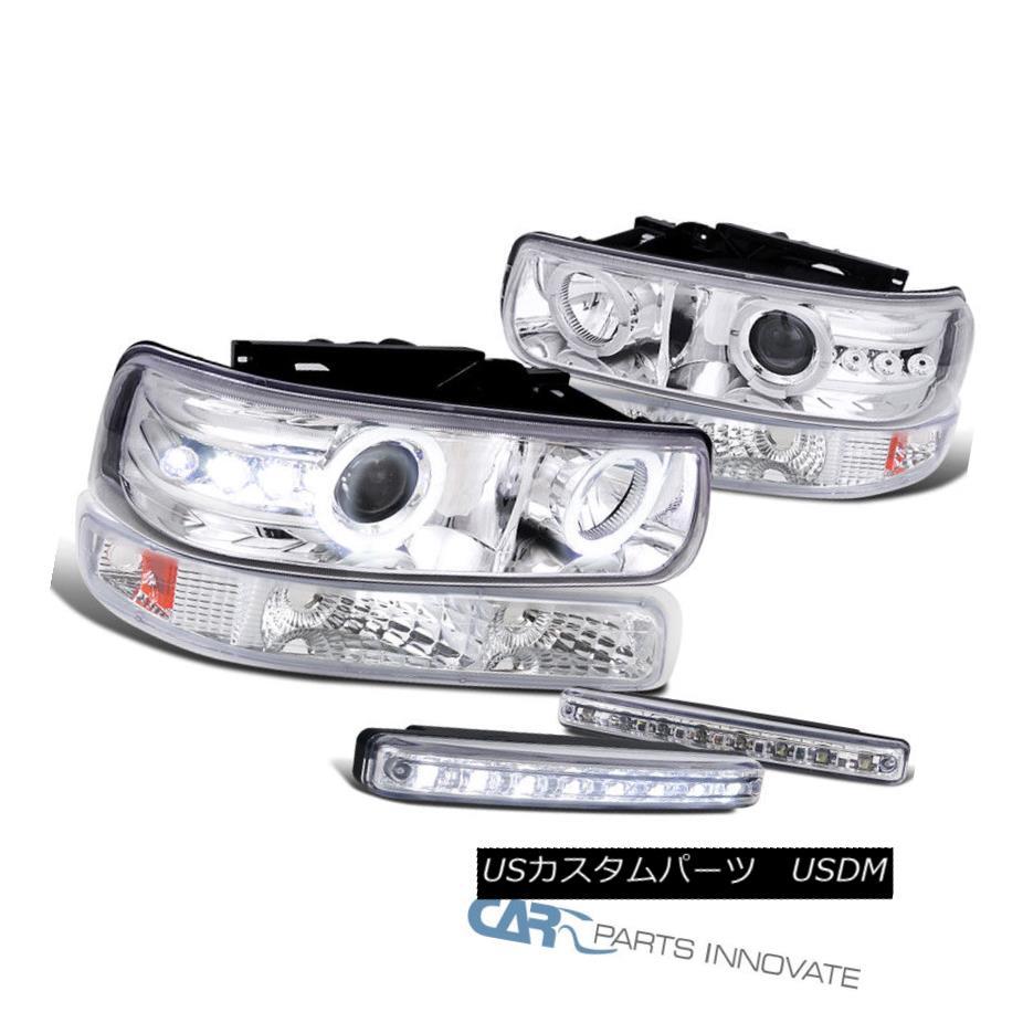 ヘッドライト 99-02 Silverado 00-06 Tahoe Halo Projector Headlights+Bumper+8-LED Fog Lamps 99-02 Silverado 00-06タホハロープロジェクターヘッドライト+ブール + 8-LEDフォグランプ