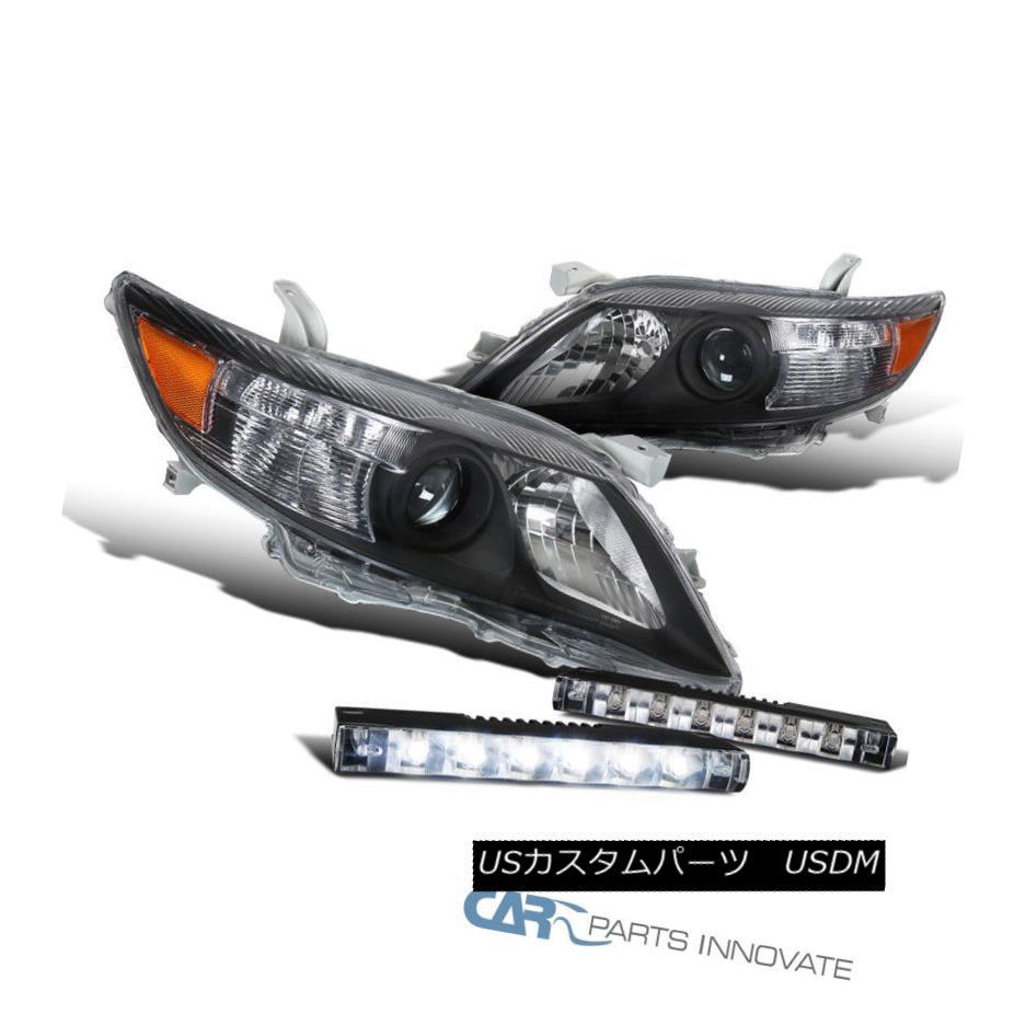 ヘッドライト For 10-11 Toyota Camry Black Projector Headlights Lamps+Slim 6-LED Fog Lights 10-11トヨタカムリブラックプロジェクターヘッドライト用ランプ+スリム6-LEDフォグライト