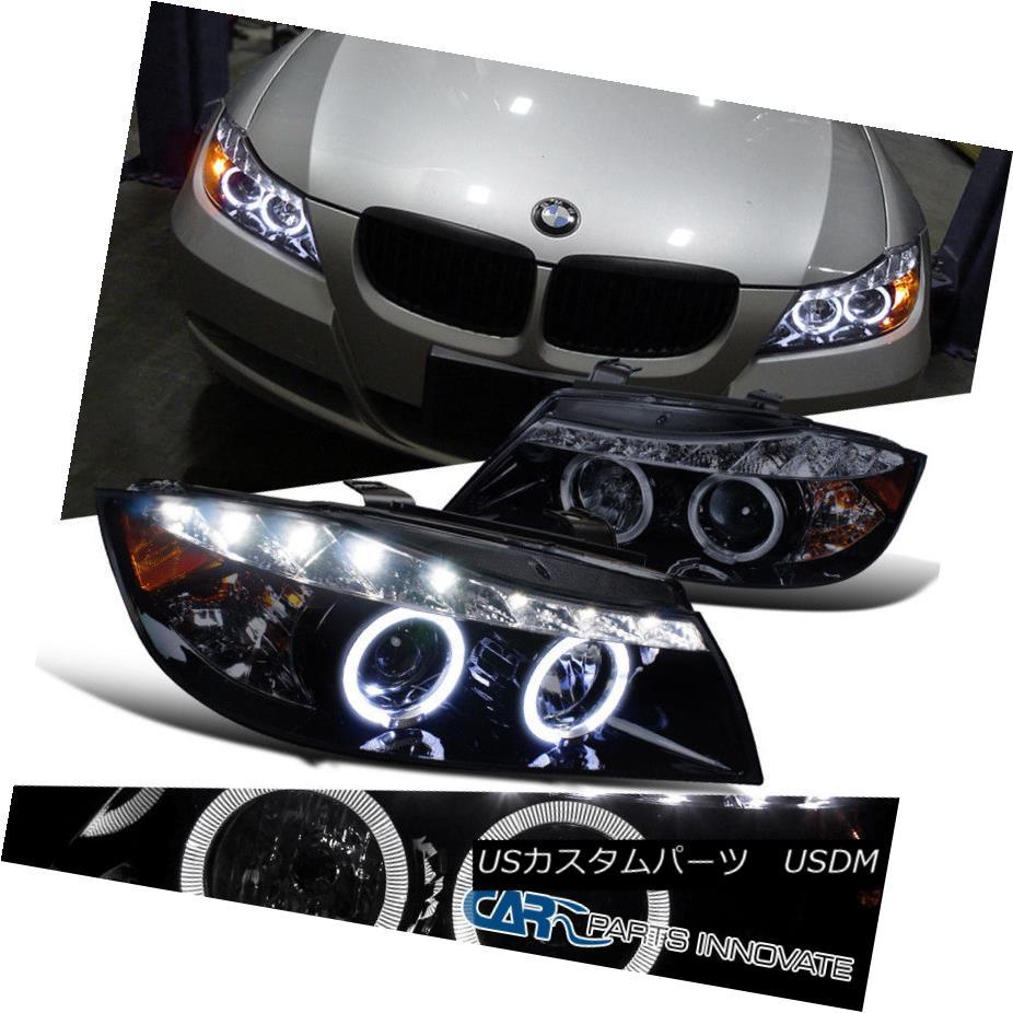 ヘッドライト New!! Glossy Black 06-08 BMW E90 3-Series 4Dr Smoke LED Halo Projector Headlight 新しい!! 光沢のある黒06-08 BMW E90 3シリーズ4Dr煙LEDハロープロジェクターヘッドライト