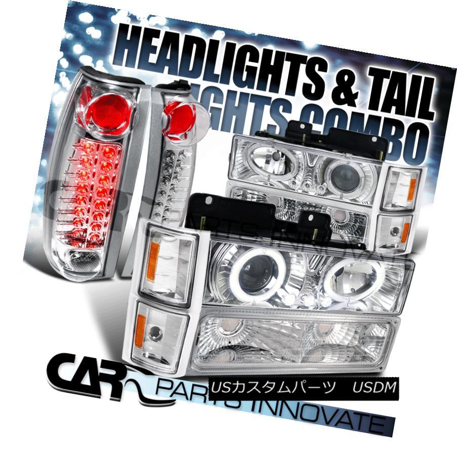 ヘッドライト 94-98 Chevy C10 C/K Tahoe Chrome Halo Projector Headlights+LED Tail Lamps 94-98シボレーC10 C / Kタホクロームハロープロジェクターヘッドライト+ LEDテールランプ