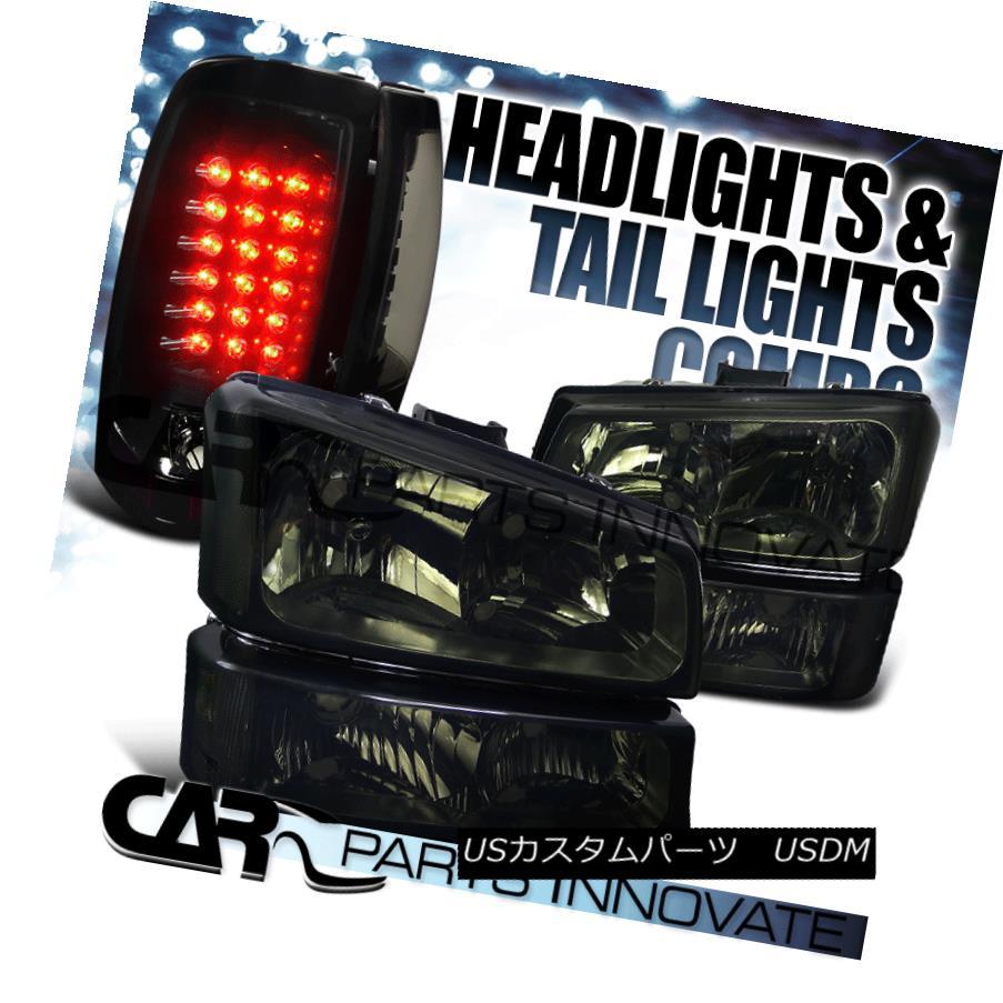 ヘッドライト 03-07 Chevy Silverado Smoke Headlights+Bumper Lamps+Glossy Black LED Tail Lights 03-07 Chevy Silveradoスモークヘッドライト+ Bum 、ランプごとに+光沢のある黒色LEDテールライト