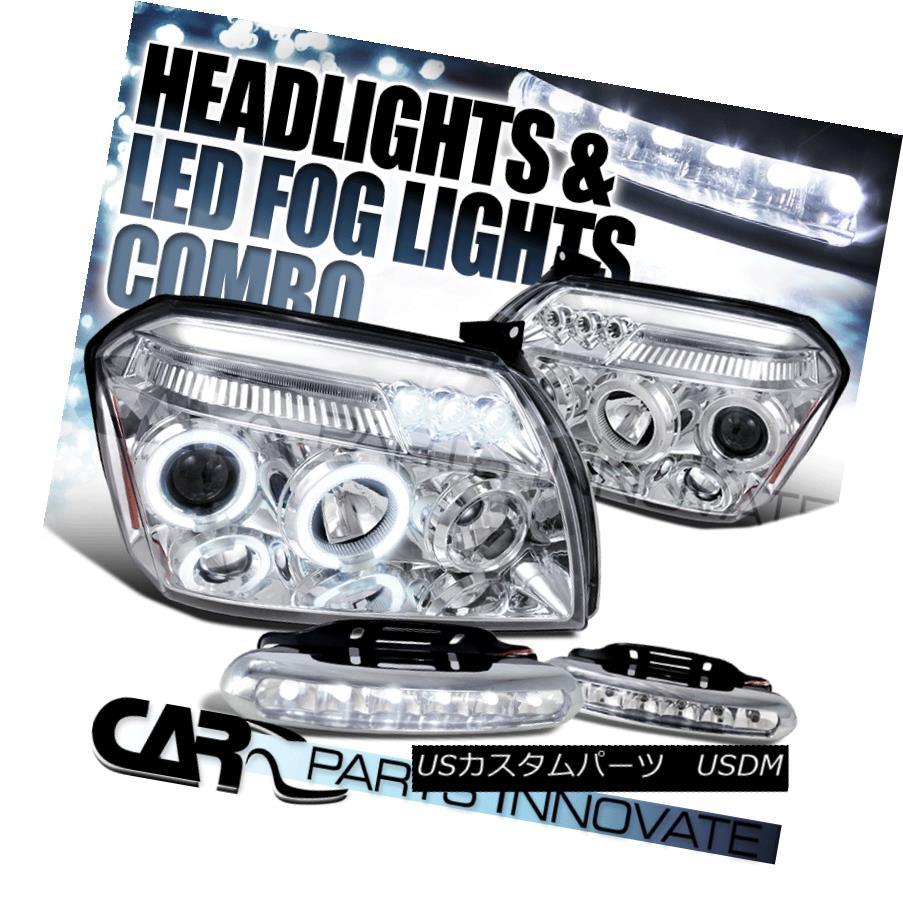 ヘッドライト Dodge 05-07 Magnum Chrome Halo Projector Headlights+6-LED Bumper Fog Lamps ドッジ05-07マグナムクロームハロープロジェクターヘッドライト+ 6-L  EDバンパーフォグランプ