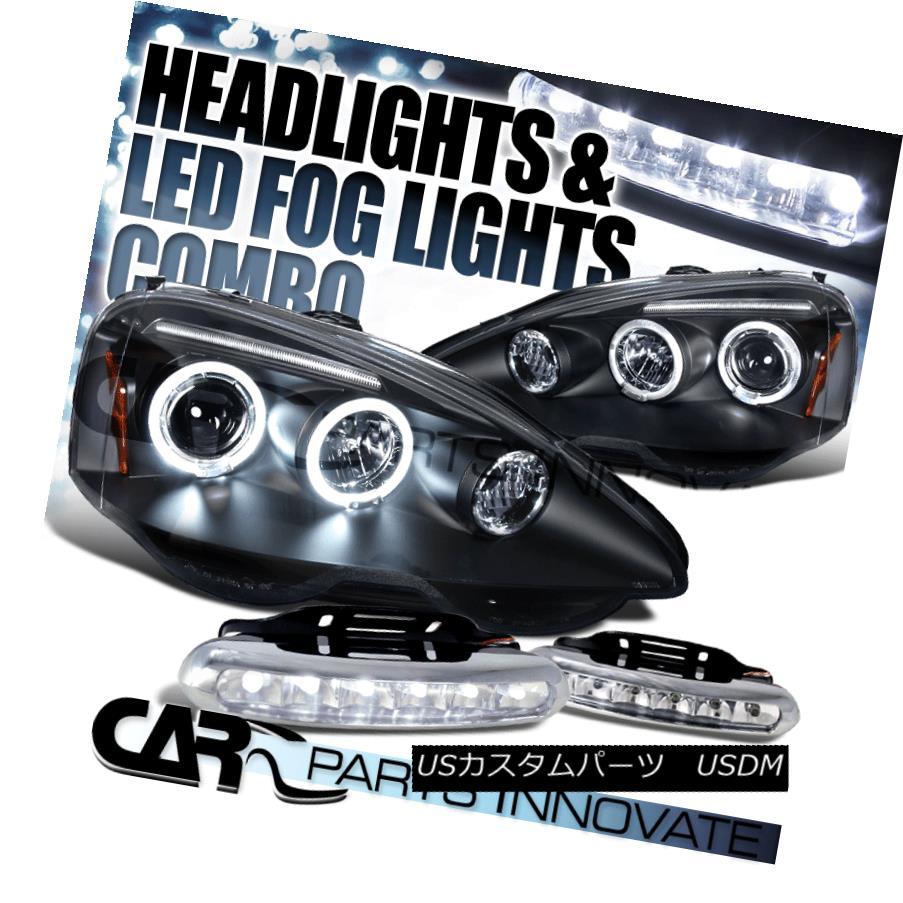 ヘッドライト 02-04 Acura RSX DC5 JDM Black Halo Projector Headlights+Clear 6-LED Fog Lamps 02-04アキュラRSX DC5 JDMブラックハロープロジェクターヘッドライト+ Cle  ar 6-LEDフォグランプ