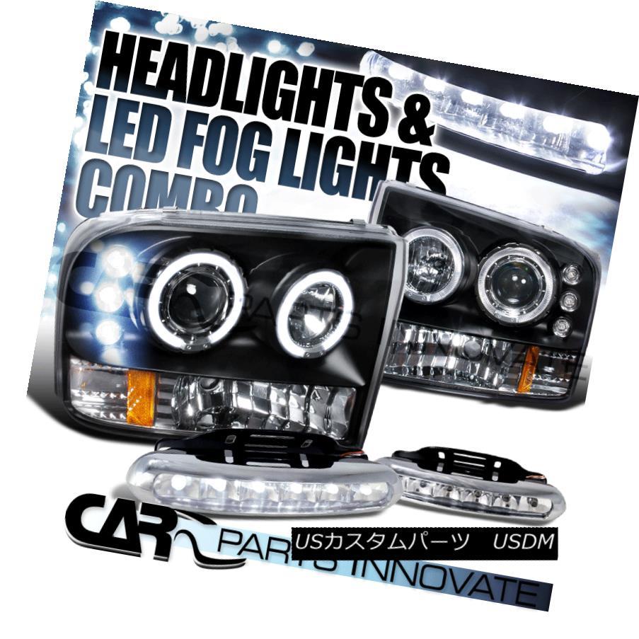 ヘッドライト 99-04 F250 F350 F450 Super Duty Black Halo Projector Headlights+6-LED Fog Lamps 99-04 F250 F350 F450スーパーデューティーブラックハロープロジェクターヘッドライト+ 6-L  EDフォグランプ