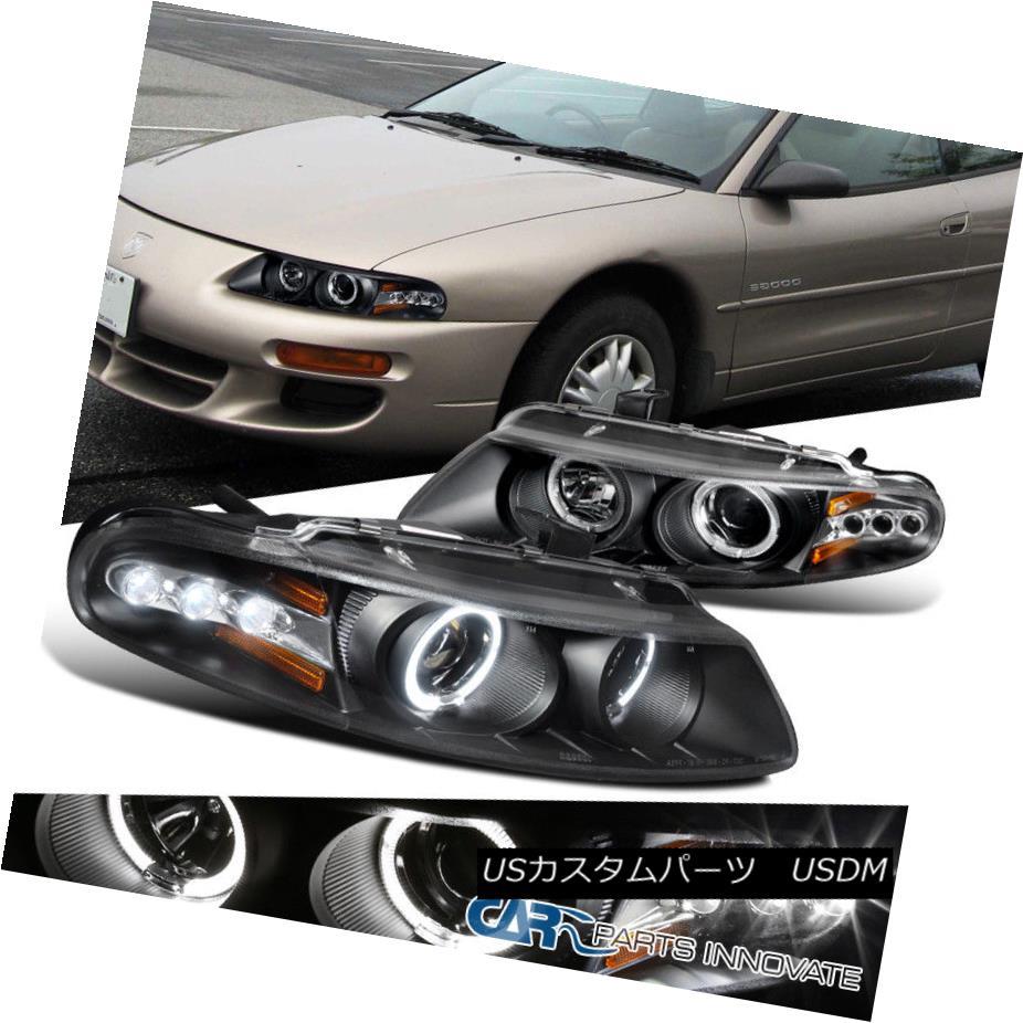 ヘッドライト 97-00 Dodge Avenger Chrysler Sebring Coupe Black LED Halo Projector Headlights 97-00ダッジアベンジャークライスラーセブリングクーペブラックLEDハロープロジェクターヘッドライト