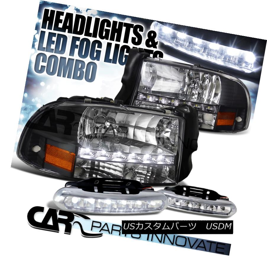 ヘッドライト 97-04 Dodge Dakota Durango Crystal Black SMD LED Headlights+LED Fog Bumper DRL 97-04ダッジダコタデュランゴクリスタルブラックSMD LEDヘッドライト+ LEDフォグバンパーDRL