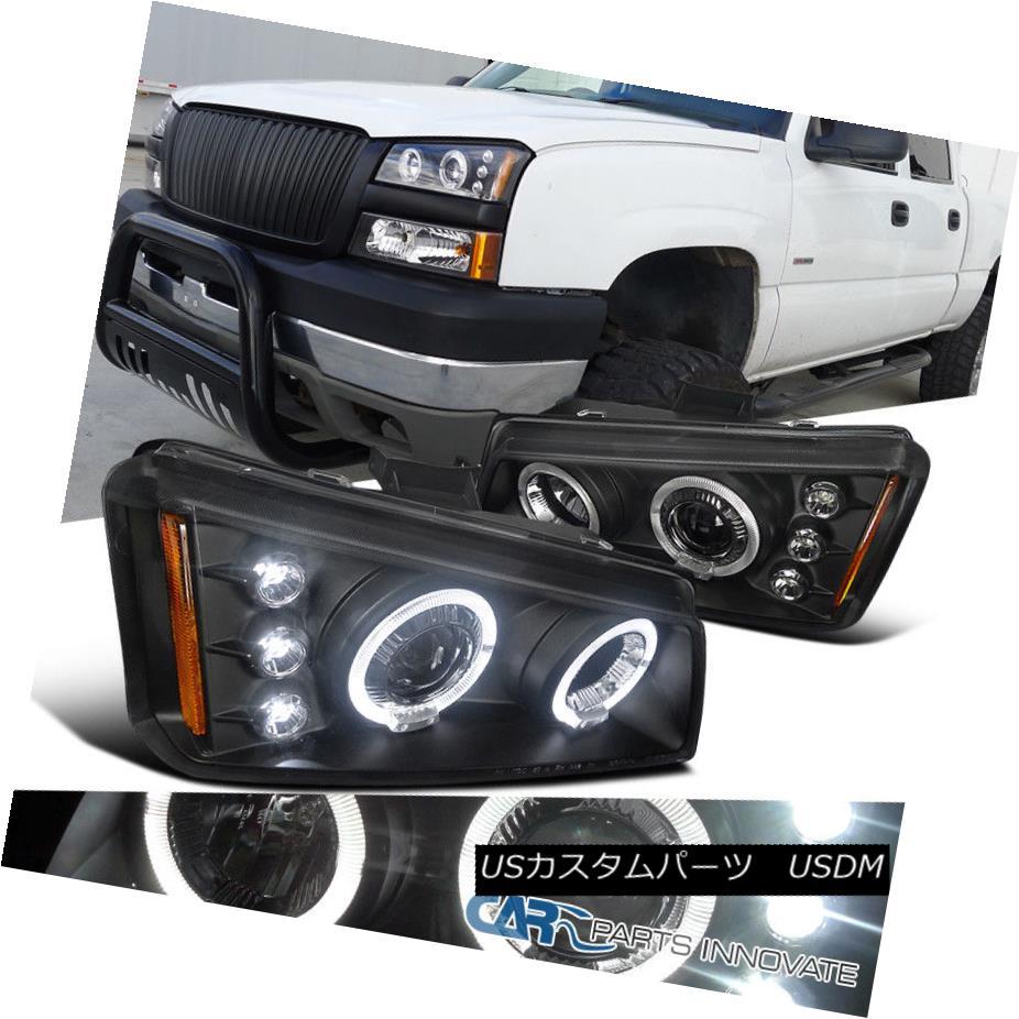 ヘッドライト Chevy 03-07 Silverado 02-06 Avalanche Black Halo LED Projector Headlights Pair Chevy 03-07 Silverado 02-06雪崩ブラックHalo LEDプロジェクターヘッドライトペア