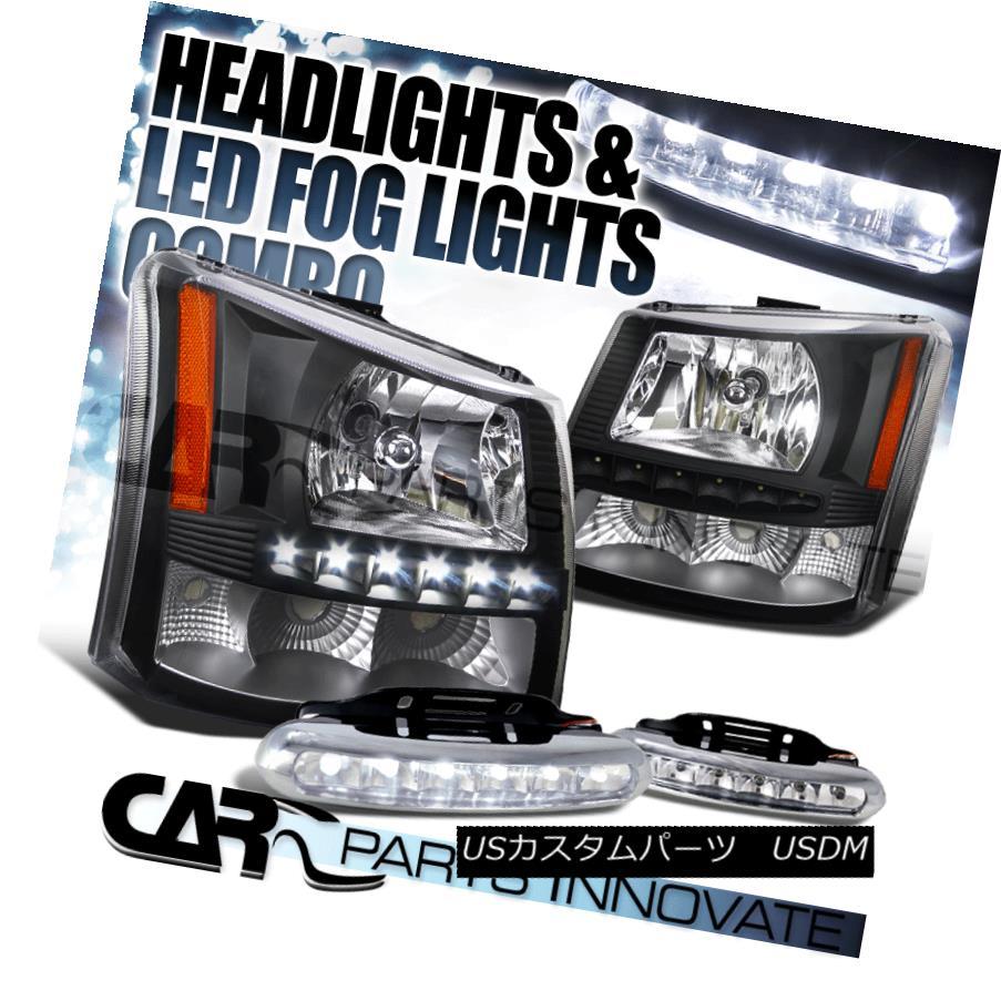 ヘッドライト 03-07 Silverado Avalanche 2in1 Black Crystal Head Bumper Lights+SMD LED Fog DRL 03-07シルバラードアバランシェ2in1ブラッククリスタルヘッドバンパーライト+ SMD LEDフォグDRL