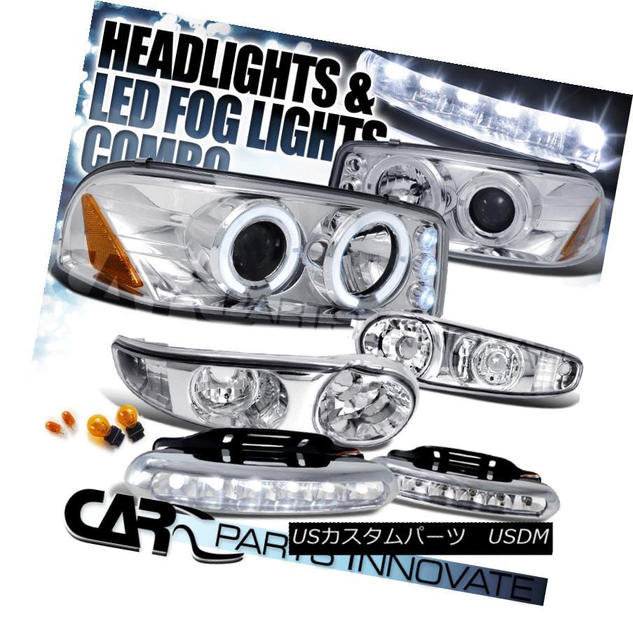 ヘッドライト 00-06 Yukon Sierra Denali Chrome Projector Headlight+Bumper Lamp+LED Fog Lamp 00-06ユーコンシエラデナリクロームプロジェクターヘッドライト+バンプ erランプ+ LEDフォグランプ