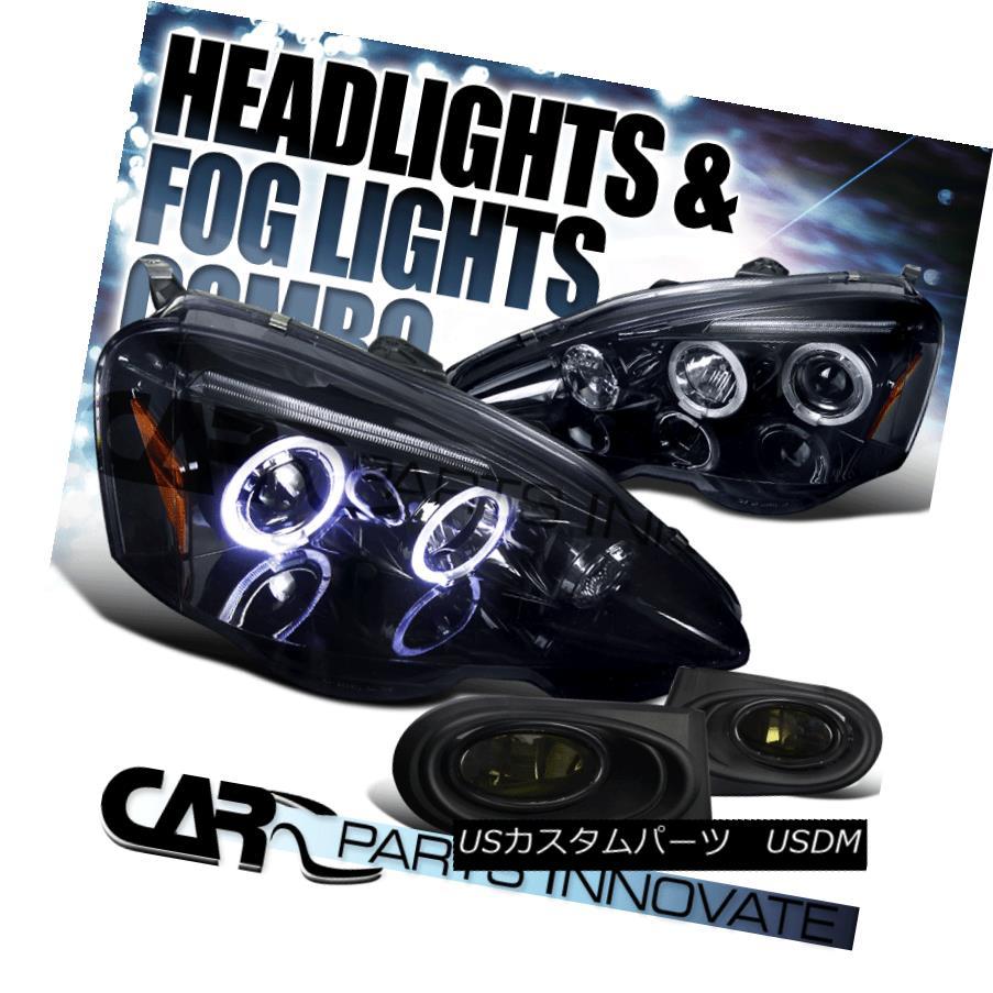ヘッドライト Glossy Black 02-04 Acura RSX Halo Projector Headlights+Smoke Driving Fog Lamps 光沢ブラック02-04アキュラRSXハロープロジェクターヘッドライト+スモーキー