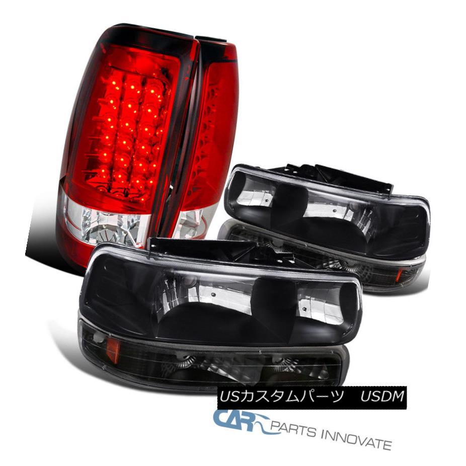 ヘッドライト Chevy 99-02 Silverado Black Headlights+Bumper w/ Signal+Red/Clear LED Tail Lamps シボレー99-02 Silveradoブラックヘッドライト+ブーン 信号/レッド/クリー ar LEDテールランプ
