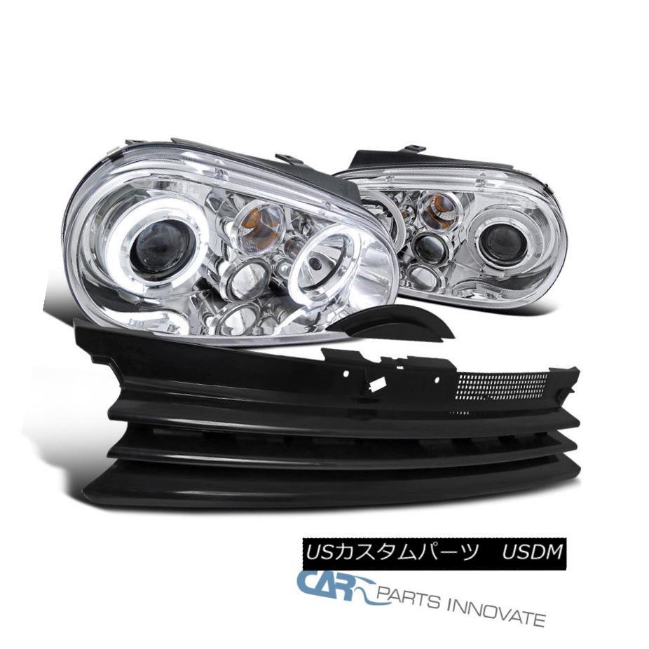 ヘッドライト For 99-06 VW Golf GTI R32 Mk4 Clear Halo Projector Headlights+Black Hood Grille 99-06 VWゴルフ用GTI R32 Mk4クリアハロープロジェクターヘッドライト+ Bla  ckフードグリル