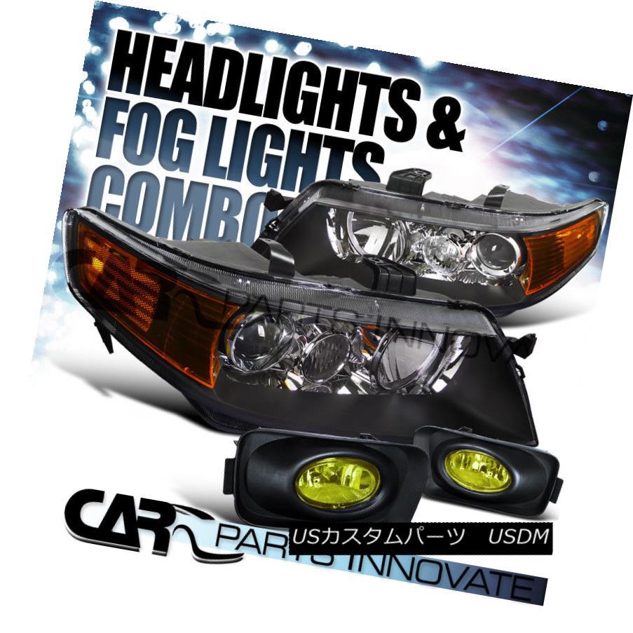 ヘッドライト 04-05 Acura TSX 4Dr Sedan Black Projector Headlights Lamp+Yellow/Amber Fog Light 04-05アキュラTSX 4Drセダンブラックプロジェクターヘッドライトランプ+イエロー/アム berフォグライト