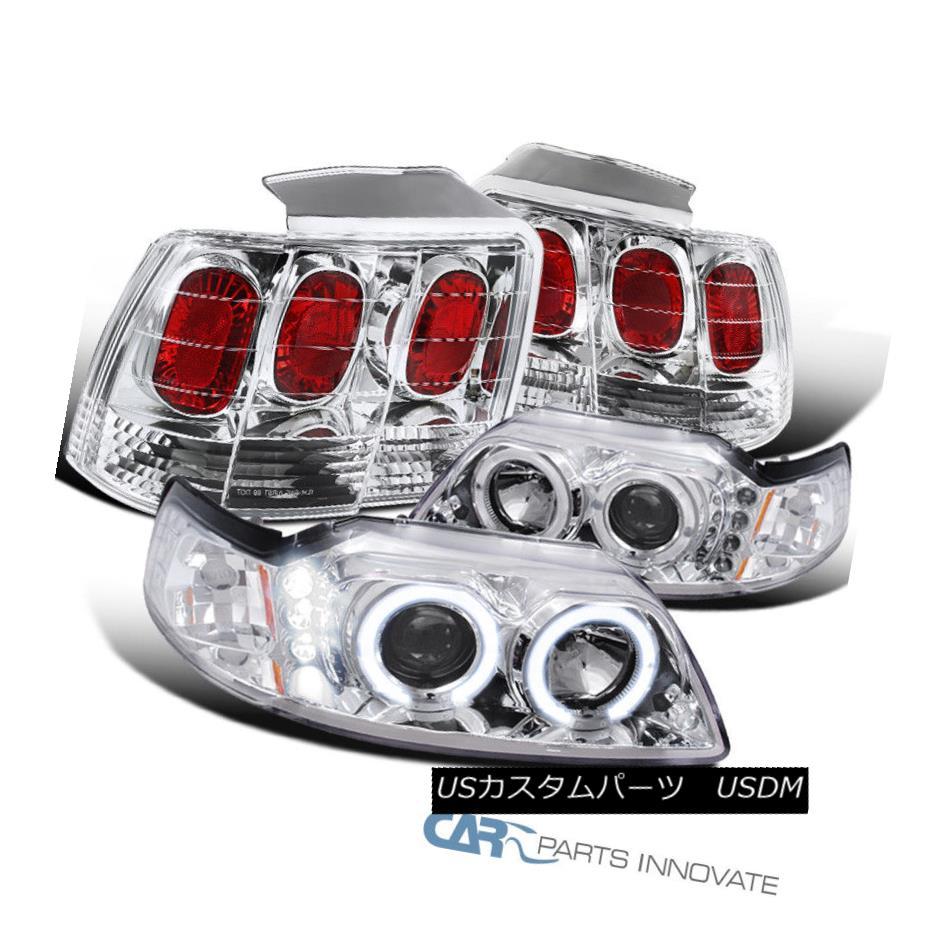 ヘッドライト 99-04 Ford Mustang Clear Halo Projector Headlights Headlamps+Tail Brake Lamps 99-04 Ford Mustangクリアハロープロジェクターヘッドライトヘッドランプ+テールブレーキランプ