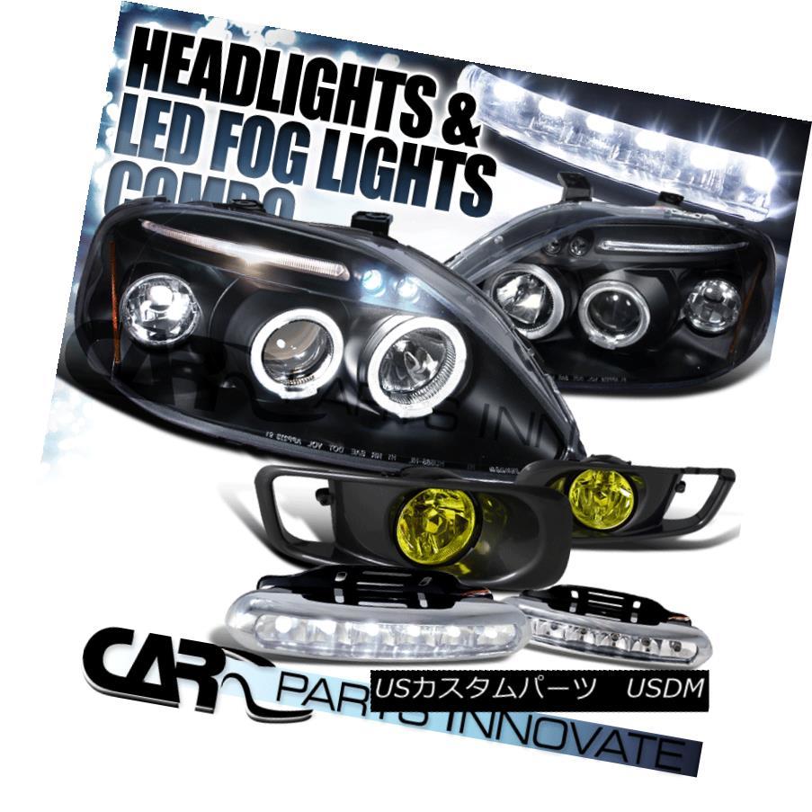 ヘッドライト Fit 99-00 Civic Black Halo LED Projector Headlights+Yellow Fog Lamps+6-LED DRL フィット99-00シビックブラックハローLEDプロジェクターヘッドライト+イエロー 低霧ランプ+ 6-LED DRL