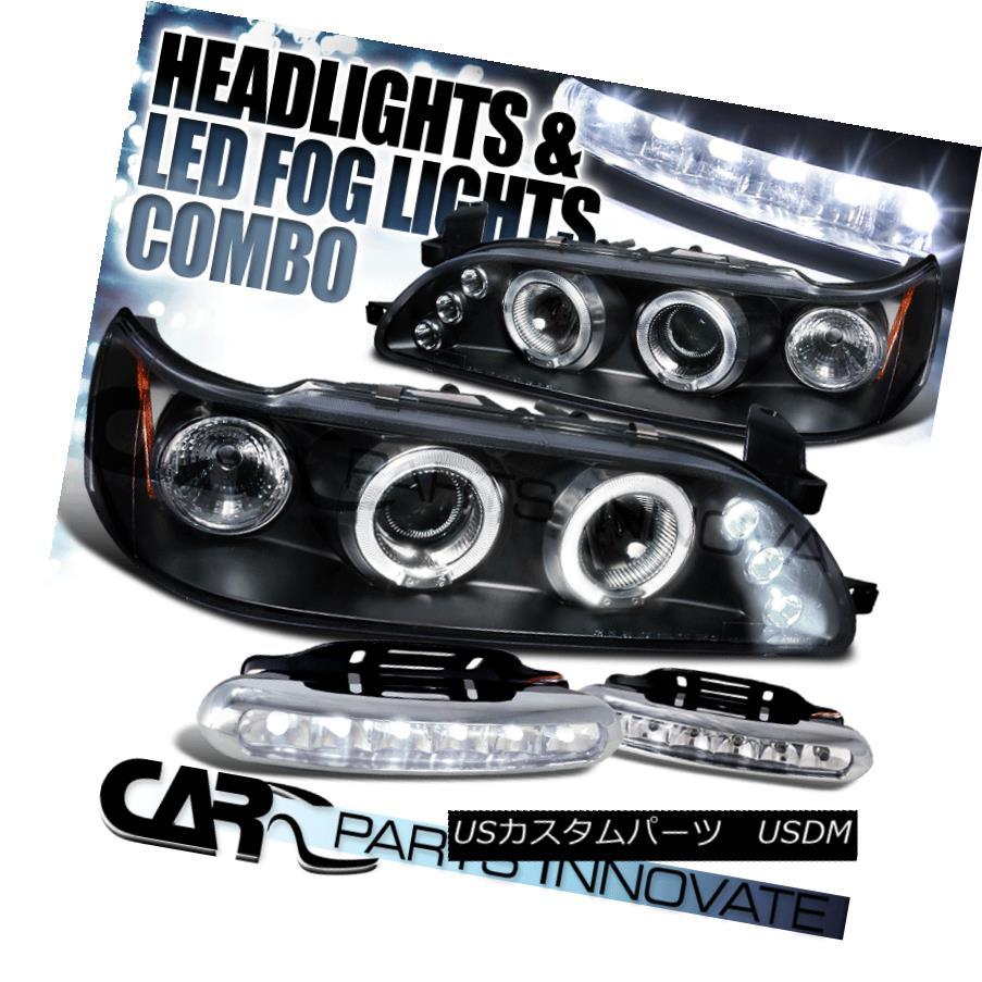 ヘッドライト For 93-97 Toyota Corolla Black Halo Projector Headlights Pair+LED Fog Bumper DRL 93-97トヨタカローラ用ブラックハロープロジェクターヘッドライトペア+ LEDフォグバンパーDRL
