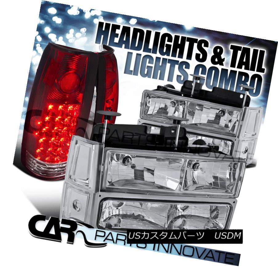 ヘッドライト 94-98 GMC Sierra Chrome Clear Headlights+Bumper Corner Lamps+Red LED Tail Lamps 94-98 GMC Sierra Chromeクリアヘッドライト+ Bum  /コーナーランプ+レッドLEDテールランプ