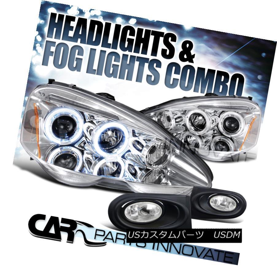 ヘッドライト 02-04 Acura RSX Clear Dual Halo LED Projector Headlights+Fog Lights Bumper Lamps 02-04アキュラRSXクリアデュアルハローLEDプロジェクターヘッドライト+フォグライトバンパーランプ