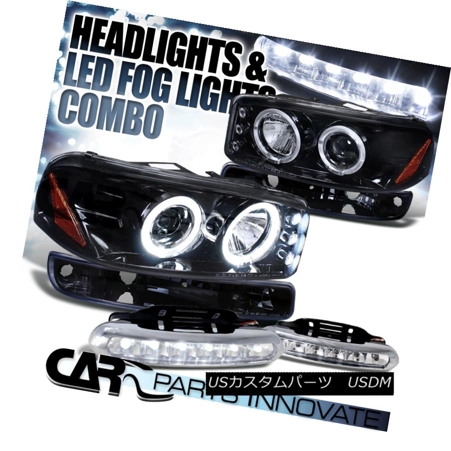 ヘッドライト Piano Black 00-06 Yukon XL Halo Projector Headlights+Bumper Lamp+LED Fog Lamp ピアノブラック00-06ユーコンXLハロープロジェクターヘッドライト+ブーム ランプ+ LEDフォグランプ