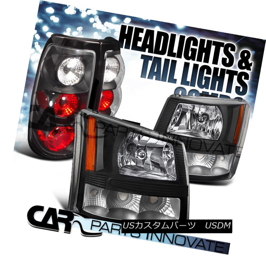 ヘッドライト 2003-2006 Chevy Silverado 2in1 Black Clear Head Bumper Lights+Tail Lamp 2003-2006シボレーシルバラード2in1ブラッククリアヘッドバンパーライト+テールランプ