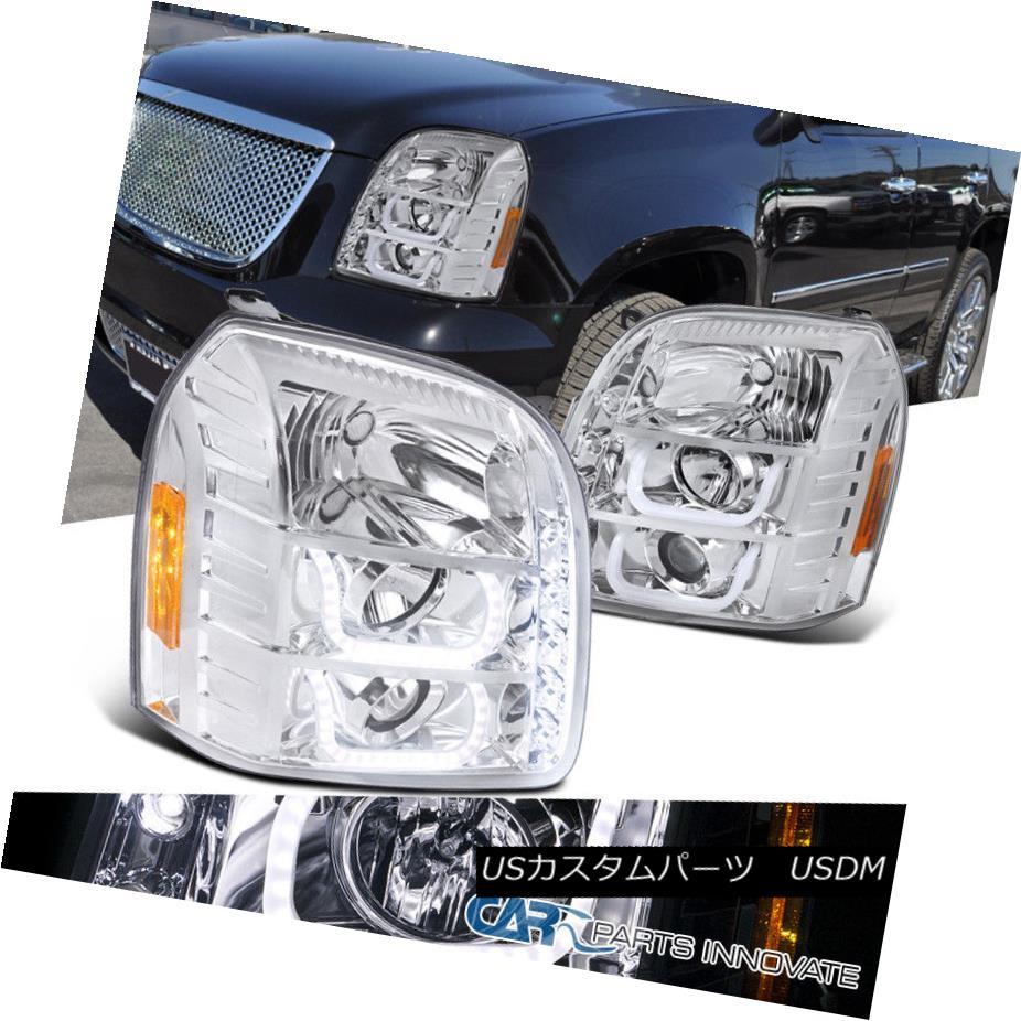 ヘッドライト 07-14 GMC Yukon Denali XL Clear LED Halo Projector Headlights Headlamps Pair 07-14 GMC Yukon Denali XLクリアLEDハロープロジェクターヘッドライトヘッドランプペア