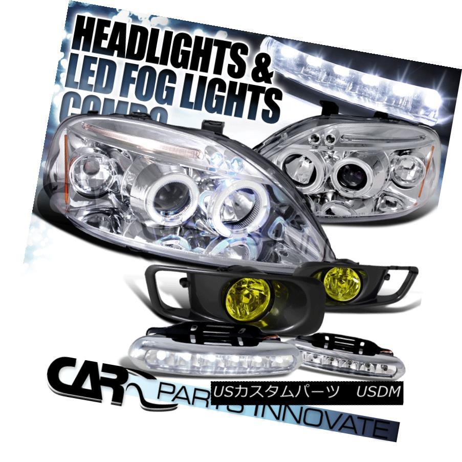 ヘッドライト Fit 99-00 Civic Chrome Halo LED Projector Headlights+Yellow Fog Lamps+6-LED DRL Fit 99-00 Civic Chrome Halo LEDプロジェクターヘッドライト+ Yel 低フォグランプ+ 6-LED DRL
