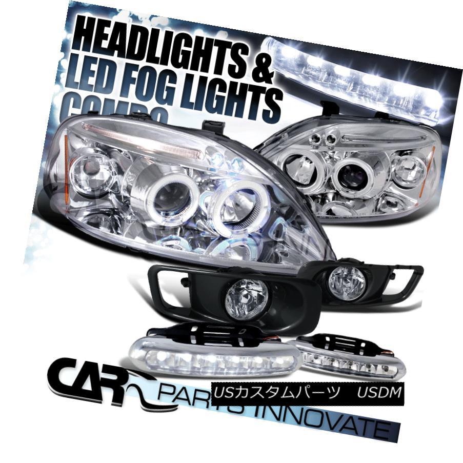 ヘッドライト For 99-00 Civic Chrome Halo LED Projector Headlights+Clear Fog Lamps+6-LED DRL 99-00 Civic Chrome Halo LEDプロジェクターヘッドライト+ Cle  arフォグランプ+ 6-LED DRL