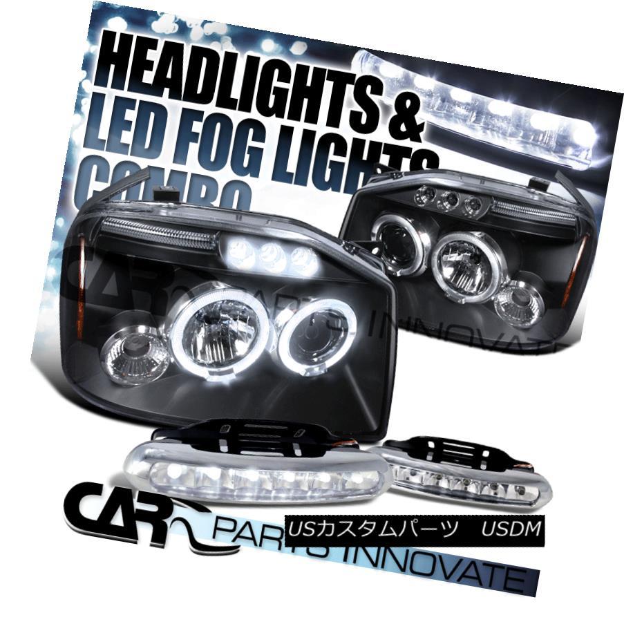 ヘッドライト For 01-04 Nissan Frontier Black Dual Halo Projector Headlights+6-LED Fog Lamps 01-04日産フロンティアブラックデュアルヘイロープロジェクターヘッドライト+ 6-L  EDフォグランプ