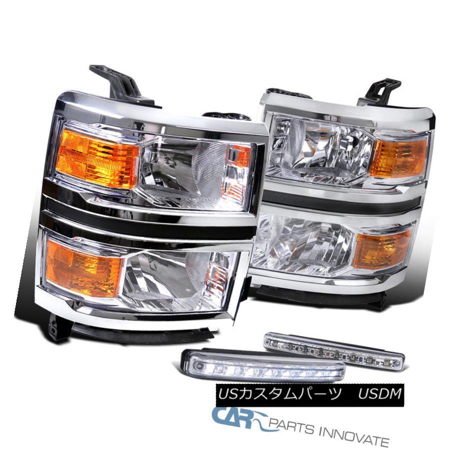 ヘッドライト Chevy 14-15 Silverado 1500 Pickup Clear Headlights+8-LED Fog Lights Bumper Lamps Chevy 14-15 Silverado 1500ピックアップクリアヘッドライト+ 8-L  EDフォグライトバンパーランプ