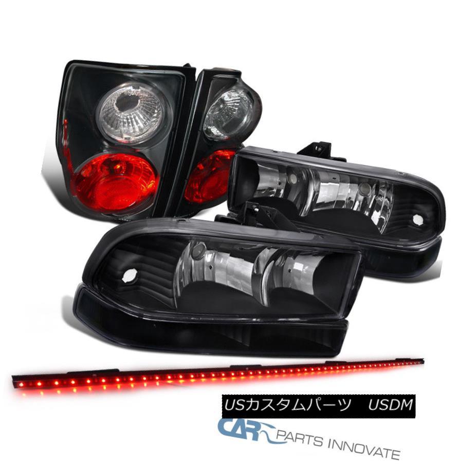 ヘッドライト 98-04 S10 Black Headlights+Bumper Fog Lamps+Tail Lights+49