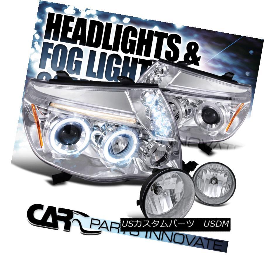 ヘッドライト For 05-11 Tacoma Clear Halo LED Projector Headlights+Fog Bumper Lamps Left+Right 05-11タコマクリア用Halo LEDプロジェクターヘッドライト+フォグバンパーランプ左+右
