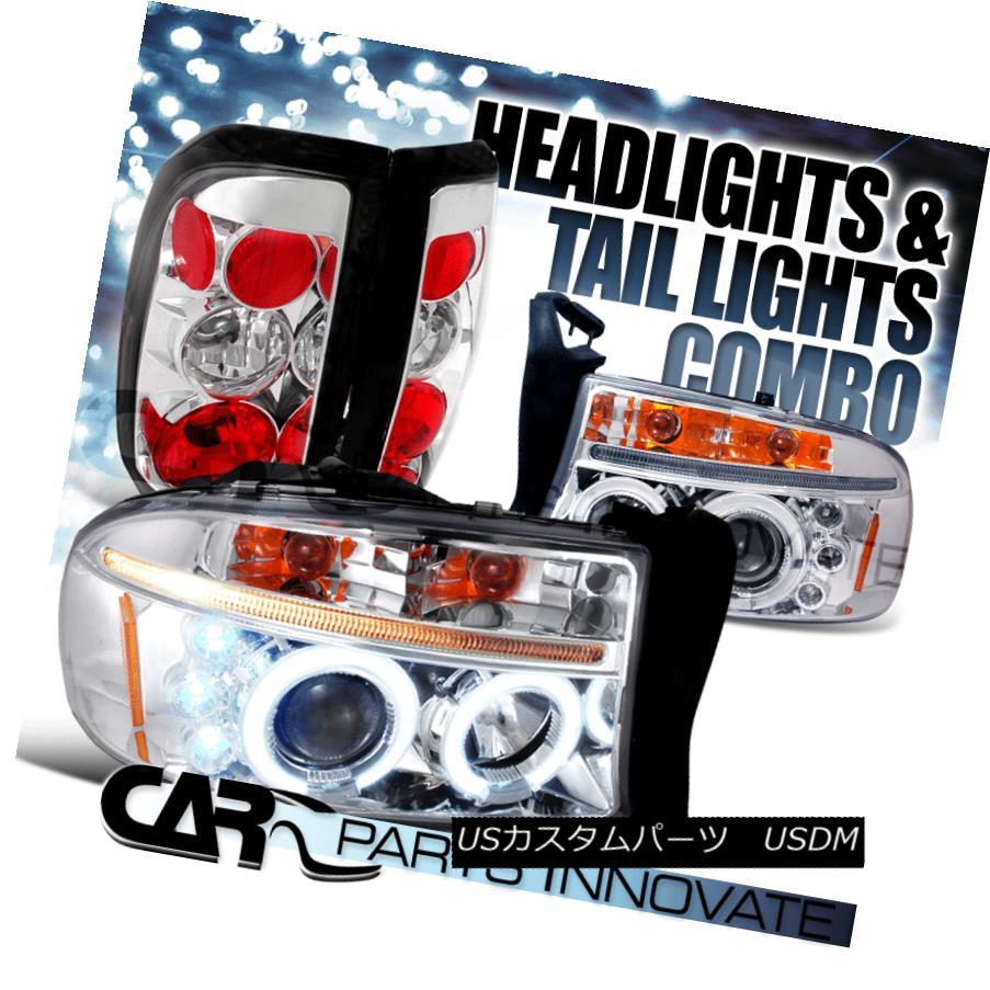 ヘッドライト 1997-2004 Dodge Dakota Chrome Halo LED Projector Headlights+Tail Lamp 1997-2004 Dodge Dakota Chrome Halo LEDプロジェクターヘッドライト+タイ lランプ