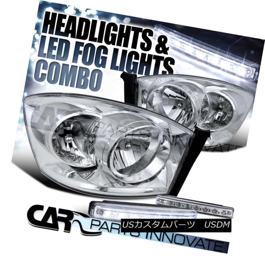 ヘッドライト 2006-2008 Dodge Ram 1500 2500 3500 Pickup Chrome Headlights+8-LED Fog Lamps Pair 2006-2008 Dodge Ram 1500 2500 3500ピックアップクロームヘッドライト+ 8-L  EDフォグランプペア