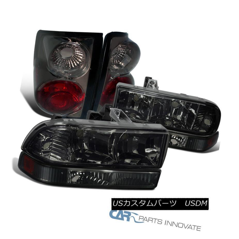 ヘッドライト 98-04 Chevy S10 Pickup Smoke Lens Headlights+Tinted Bumper Lamps+Tail Lights 98-04 Chevy S10ピックアップスモークレンズヘッドライト+スツール tedバンパーランプ+テールライト
