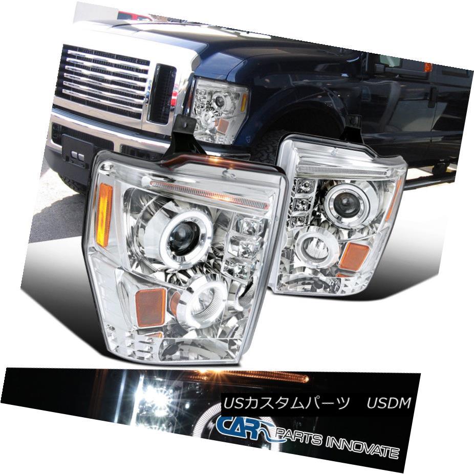ヘッドライト Ford 08-10 F250 F350 F450 Super Duty LED Halo Projector Headlights Lamp Chrome フォード08-10 F250 F350 F450スーパーデューティーLEDハロープロジェクターヘッドライトランプクローム
