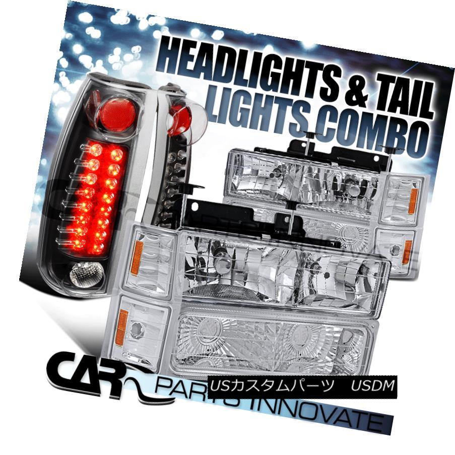 ヘッドライト 94-99 Suburban 1500/2500 Chrome Headlights+Bumper Corner+Black LED Tail Lamps 94-99郊外1500/2500クロームヘッドライト+ブール /コーナー+ブラックLEDテールランプ