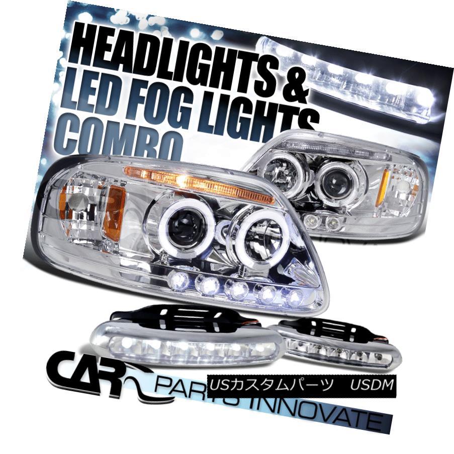 ヘッドライト 97-03 F-150 Expedition Chrome Dual Halo Projector Headlights+6-LED Fog Lamps 97-03 F-150遠征クロームデュアルハロープロジェクターヘッドライト+ 6-L  EDフォグランプ