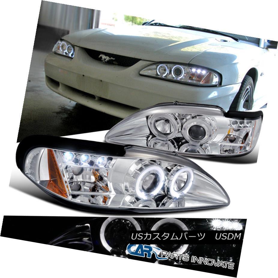 ヘッドライト Ford 94-98 Mustang Cobra GT LED Halo Projector Headlights Lamp Chrome フォード94-98マスタングコブラGT LEDハロープロジェクターヘッドライトランプクローム