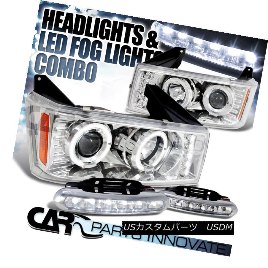 ヘッドライト 04-12 Colorado Canyon Chrome Halo LED Projector Headlights+LED Fog Bumper DRL 04-12コロラドキャニオンクロムハローLEDプロジェクターヘッドライト+ LEDフォグバンパーDRL