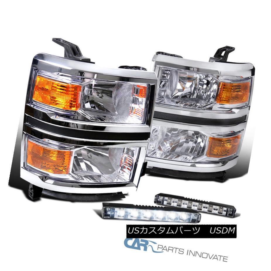 ヘッドライト 14-15 Chevy Silverado 1500 Pickup Clear Headlights+Slim LED Fog Bumper Lights 14-15 Chevy Silverado 1500ピックアップクリアヘッドライト+ Sli m LEDフォグバンパーライト